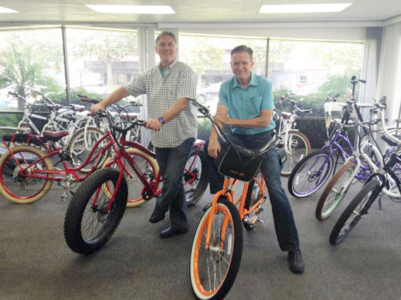 Don DiCostanzo (right), CEO/co-founder, and Terry Sherry, CFO/co-founder, of Pedego Electric Bikes — NB Indy Photo ©