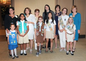 Honorees with Girls: (Back row from left) Celebrate Leadership honorees Betty Mower Potalivo, Dr. Mildred Garcia, Joanne Leatherby, Jane Buchan, Lynn Jolliffe, Sheriff Sandra Hutchens with Girl Scouts (front row from left) Kassidy Lee, Alexandra Vasquez, Gracie Finley, Sharleen Loh, Christina Meyer and Moira Clark.