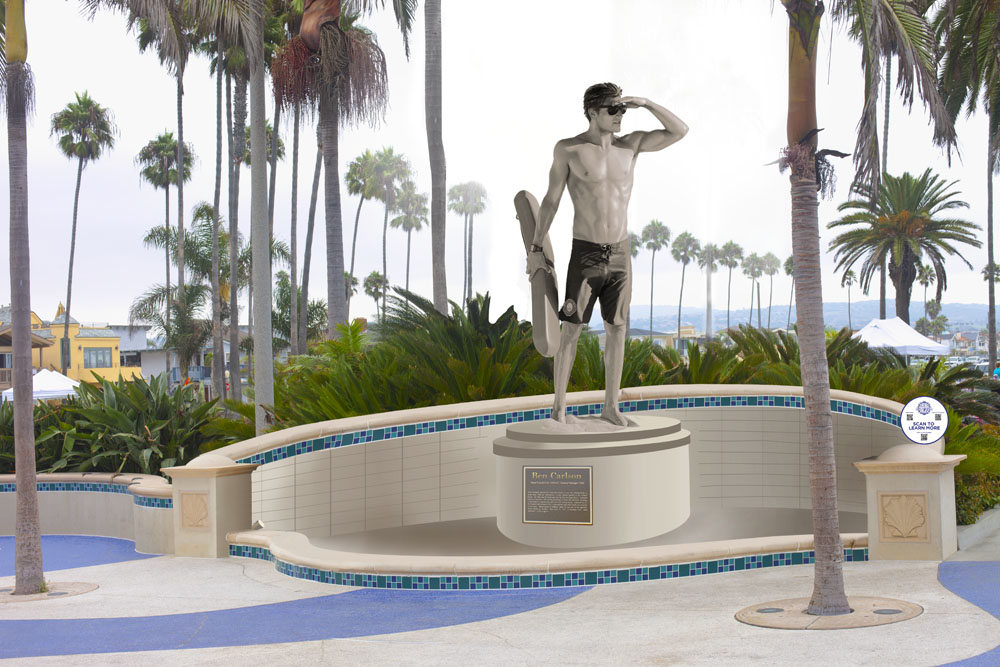 An artist's rendering of the statue the Ben Carlson Foundation is working on in honor of the fallen lifeguard. — Photo courtesy the Ben Carlson Foundation
