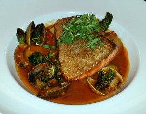Salmon with clams at Babette's
