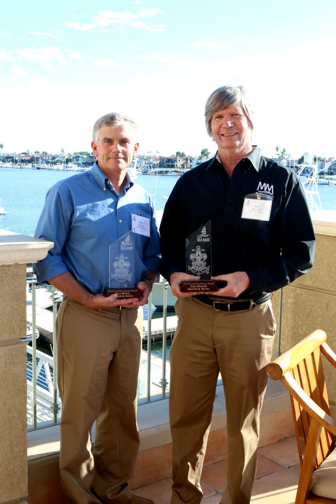 (left to right) Pete Melvin and Gino Morrelli with their Good Scout Awards at the Balboa Bay Resort last week.