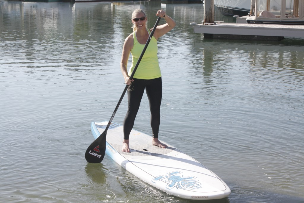 NB Indy columnist Shelly Zavala on a stand up paddleboard in Newport Back Bay during a previous summer. — Photo by Christopher Trela ©