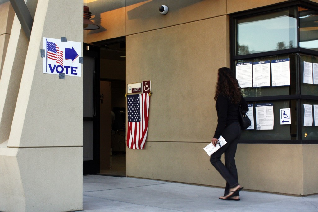 Newport Beach voters hit the polls Tuesday to cast their choices for city council members, Measure Y and more. — Photo by Christopher Trela ©