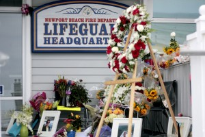 A tribute memorial for Ben Carlson at the lifeguard headquarters. Photo Credit: Sara Hall