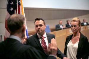 Kevin Muldoon is sworn in as a city councilman