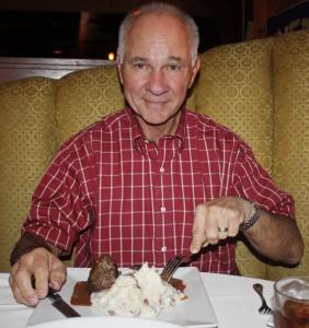 Jim Walker at The Bungalow Restaurant sampling a restaurant week dish