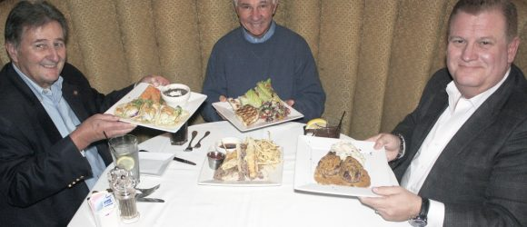 Mayor Ed Selich, Bungalow co-owner Jim Walker, Newport Beach & Co. President and CEO Gary Sherwin, discussing Restaurant Week
