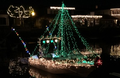 Landon Martin's boat decorated for the Christmas Boat Parade