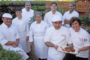 Chef Cathy Pavlos (far right) and her dinner kitchen staff at Provenance