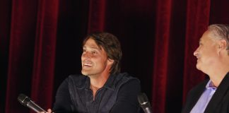 Teemu Selanne answers questions after the film screening