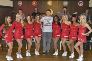 LA Clilppers Cheerleaders with Marine at Super Bowl event