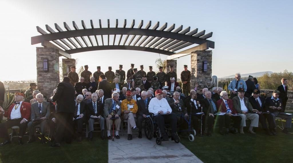 Sunset Ceremony: Iwo Jima survivors. — Photo by Lawrence Sherwin ©