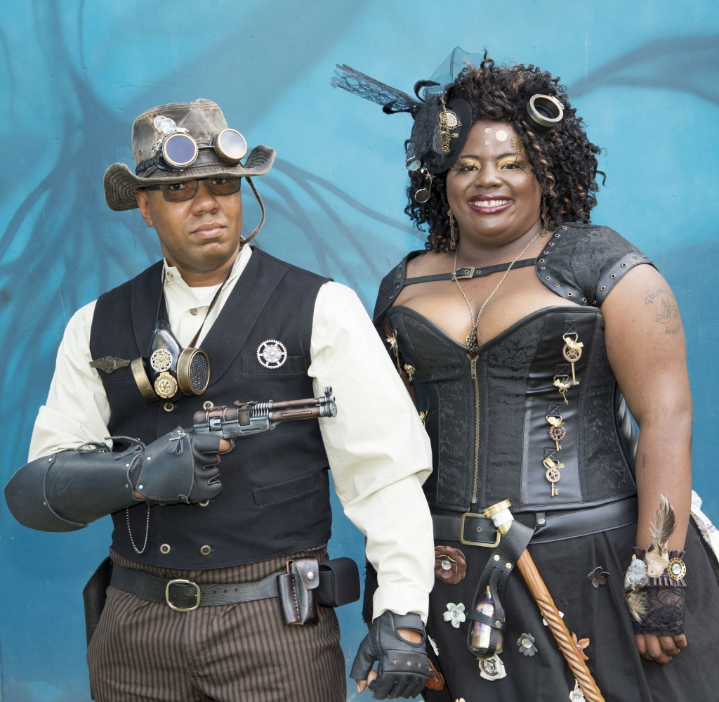 Steampunk couple. — Photo by Lawrence Sherwin ©