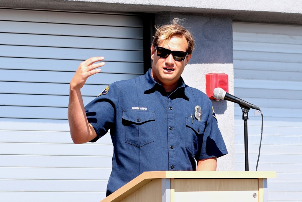 NBFD lifeguard George Leeper speaks at the dedication event. — NB Indy Photo ©