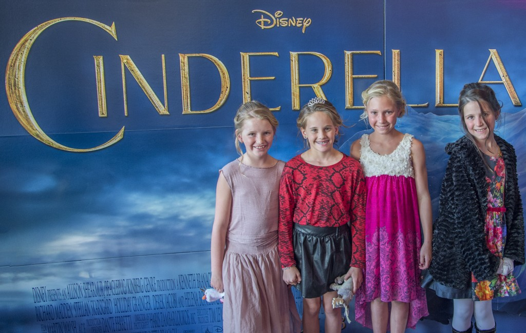 "Katherine Peets, Chloe Davis, Milan Beverly, Aubrey Gibson at a special screening of the movie ""Cinderella"" at Big Newport 6 theater.  — Photo by Lawrence Sherwin ©"