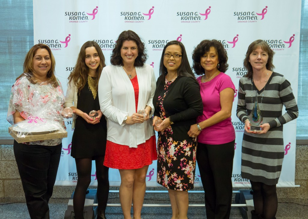 (left to right) Sylvia Contreras, Gigi Woodall (Newport Beach honoree), Angelique Fong, Teresa Blanco, Sol Reyes Roberts, Annette Kennedy. — Photo courtesy Susan G. Komen Orange County ©