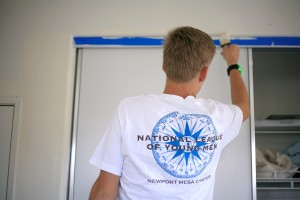 NLYM member Blake Richter, 15, works on a room at the Human Options housing facility during the refurbishing project.
