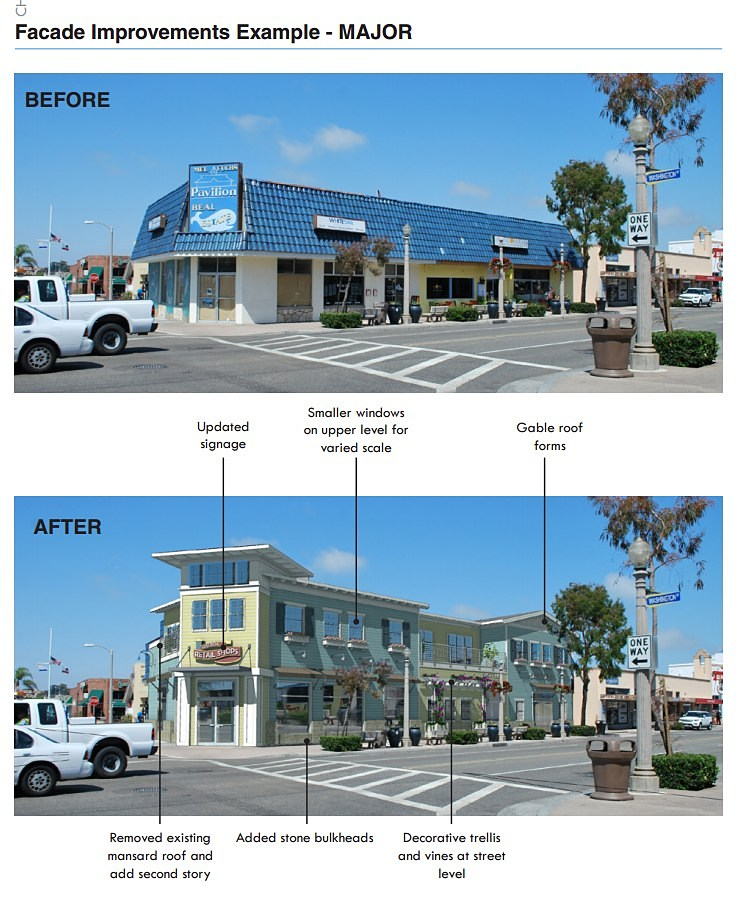 A conceptual rendering of what major improvements might look like on a business through the program. — Photo illustration courtesy the city of Newport Beach