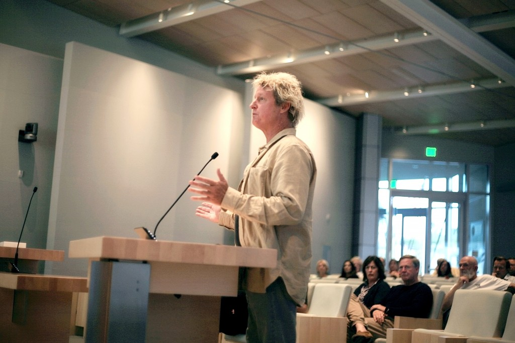 Bill Sharp, representing the Newport Surf Council, speaks about blackball at the Parks, Beaches and Recreation Commission meeting on Tuesday. — Photo by Sara Hall ©