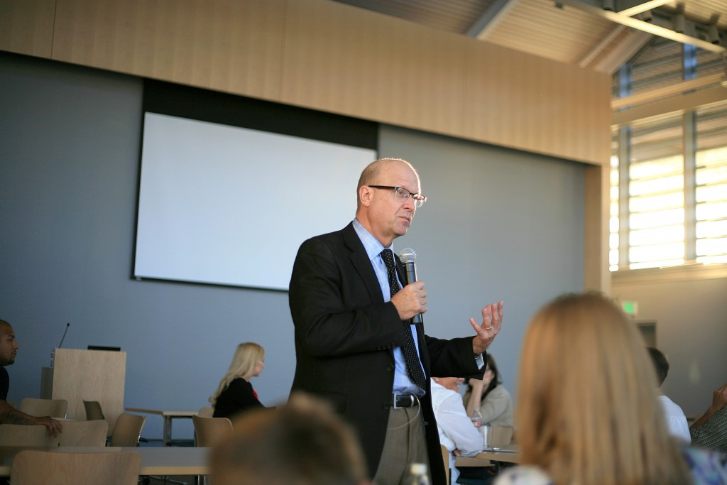 Stephen Camarata, Ph.D., talks about late-talking children during a free, public lecture held at the Newport Beach Civic Center community room on March 14.  — Photo by Sara Hall ©