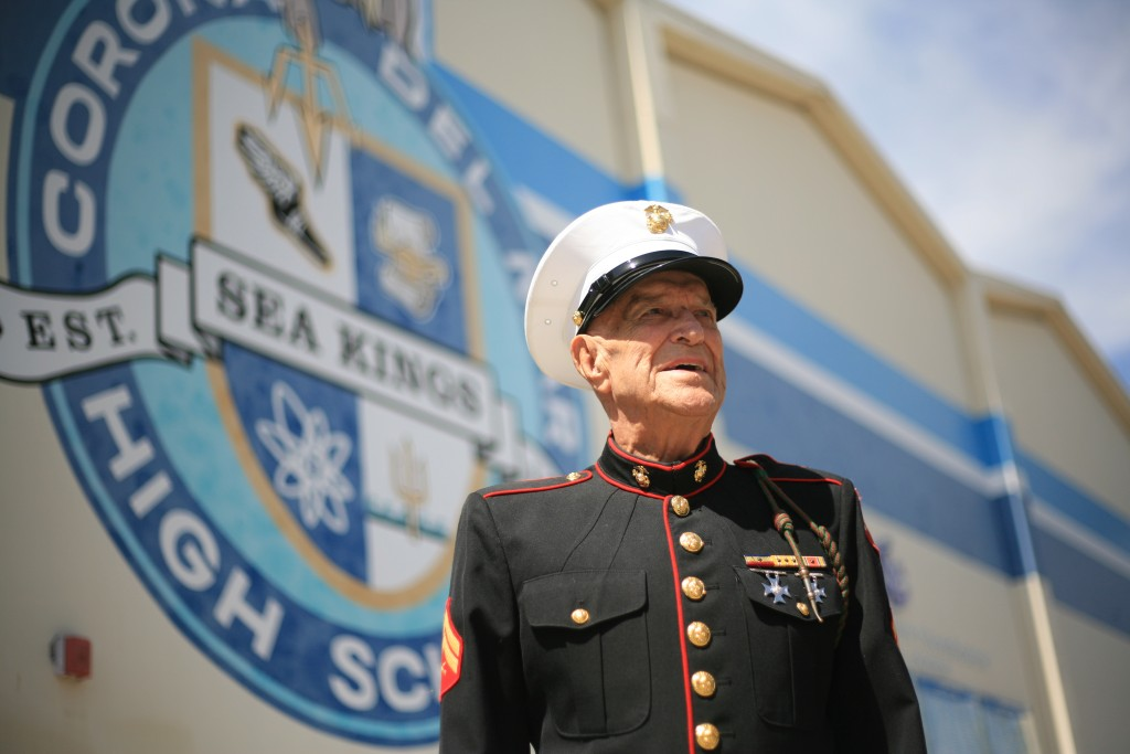 Marine Corps veteran Dick Meadows stands outside the Corona del Mar High School gym, where the Living History luncheon honoring veterans was held last week. — Photo by Sara Hall ©