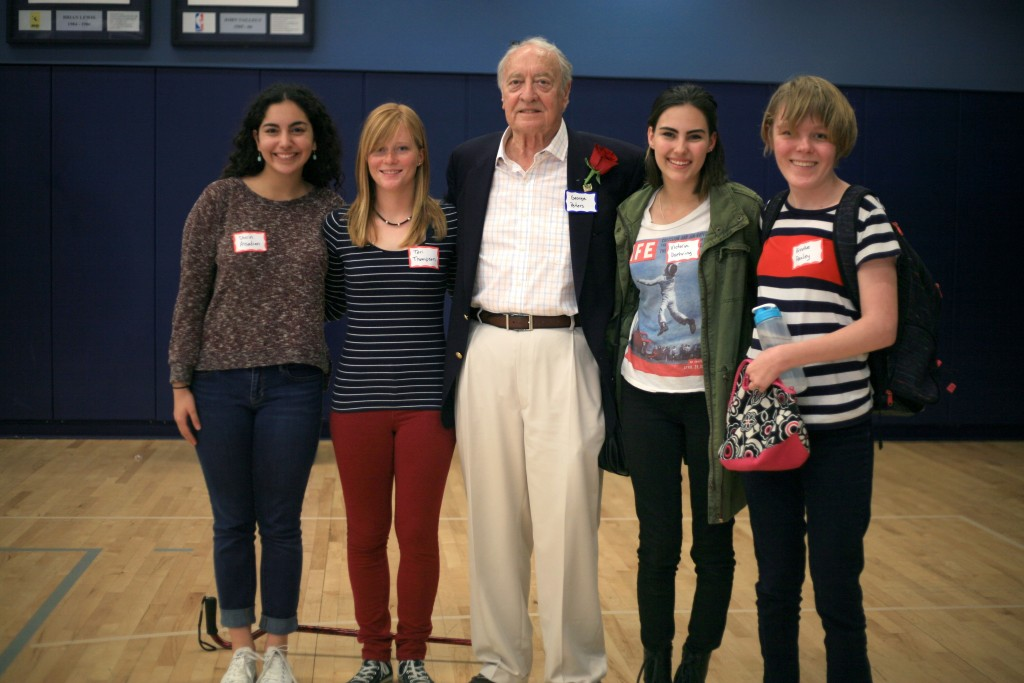 Korean War veteran George Peters with the CdM sophomores who interviewed him, (right to left) Shirin Assadian, Tori Thompson, Victoria Duehring, and Brooke Pauley. — Photo by Sara Hall ©
