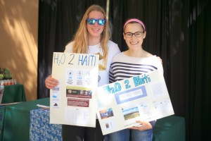 Sage juniors Aurelie Schaison, 17, and Lauren Thurien, 16, promoted their service learning project, H2O 2 Haiti, at the ethnic bazaar during the fair.  — Photo by Sara Hall ©