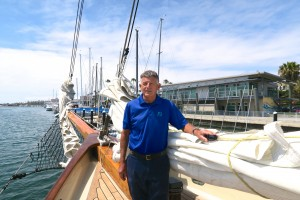 Newport Beach resident Bob Steel aboard the America, the famous historic racing yacht. — Photo by Jim Collins ©
