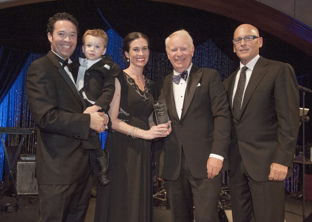 UCP-OC family Nick, Jacoby, and Lisa Gonchar with honoree David Pyott and event chair Dana Dowers — Photo courtesy of United Cerebral Palsy of Orange County ©