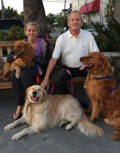 Capt. Kirk, eight months old; Indiana Jones, six; and Tiger Lilly, three, with owners Danielle and Richard Mayer
