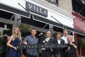 Emily Gill with Villa; Villa owner Gary Jabara; Villa President Steve High; Newport Beach Mayor Ed Selich; Newport Beach councilman Scott Peotter; and Taryn Carpenter from Villa Real Estate
