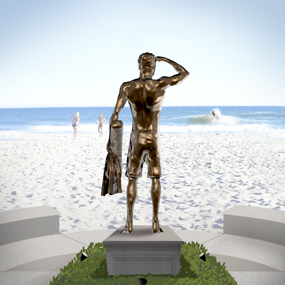 Rendering of the Ben Carlson statue to be placed in McFadden Square. — Artist rendering courtesy city of Newport Beach