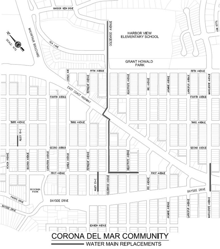 Map of construction area — Courtesy city of Newport Beach