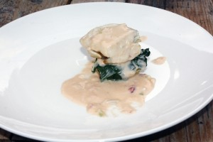 Sole with crab and spinach