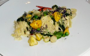 House made fettuccine with spring vegetables