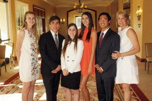 1221 Club scholarship winners Eliza Jason (Estancia), Jose Avonce and Caroline Quigg (Newport Harbor High), Taylor Fogarty and Patrick Ong (Corona del Mar High) and 1221 Club Vice President Devon Martin