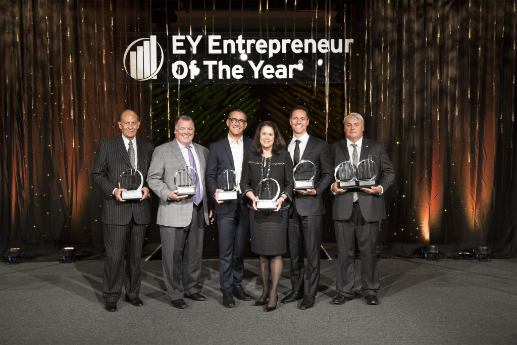 left to right: Vernon Underwood, Young's Market Company;  Jeff Walker, Alliance Entertainment; Joe Duran, United Capital Financial Advisers; Kim Cripe, Children's Hospital of Orange County; Andrew Peykoff II, Niagara Bottling; James Dunlop, Ambry Genetics. — Photo courtesy EY ©