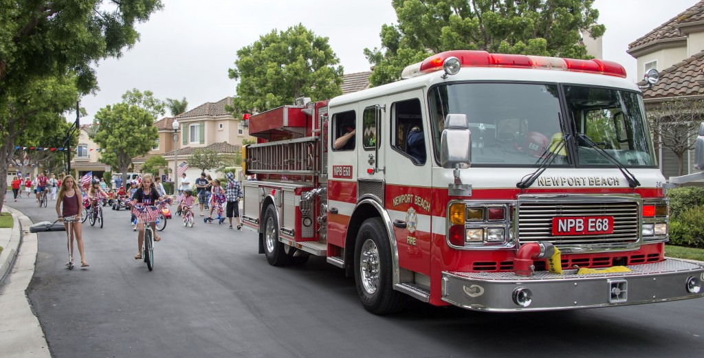 A Newport Beach Fire Department truck in the community on July 4. — Photo by Charles Weinberg