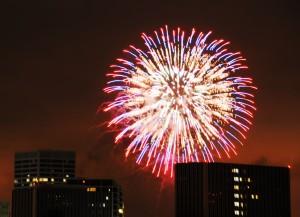 Fireworks over Fashion Island