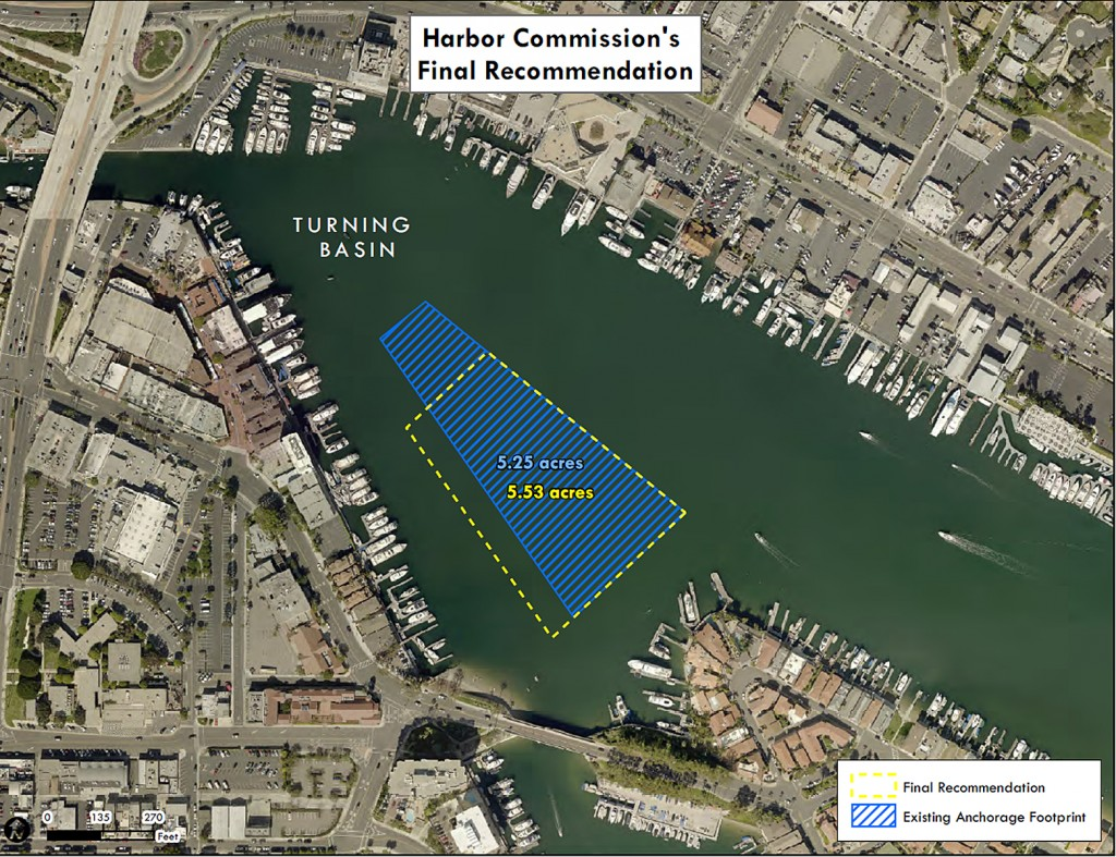 The Harbor Commission's recommended anchorage footprint. — Photo courtesy city of Newport Beach