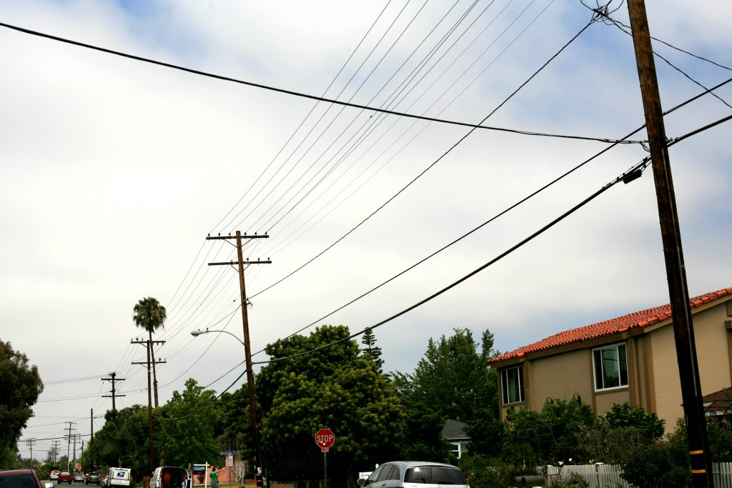 Above ground wires in the Newport Heights neighborhood. — Photo by Sara Hall ©
