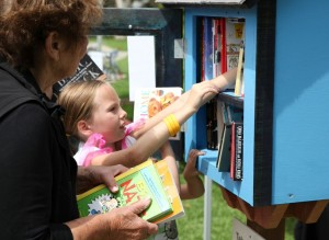 Looking for literary treasures at the Little Free Library