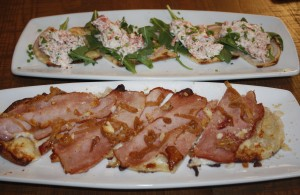 Lobster flatbread and Ham & Cheese flatbread at CPK