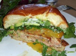 Salmon burger at Fig & Olive