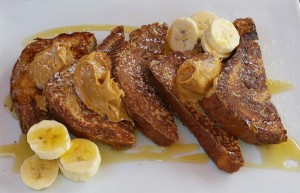 Cinnamon brioche French toast with peanut butter and banana