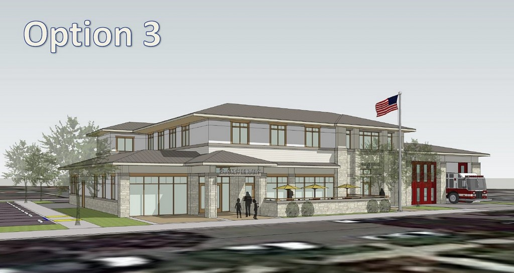 "An artist's rendering of the CdM 'Fibrary' aka fire station and library with the ""prairie"" architectural style of option three, the audience favorite at Monday's community meeting. (Click to enlarge) — Photo courtesy the city of Newport Beach ©"
