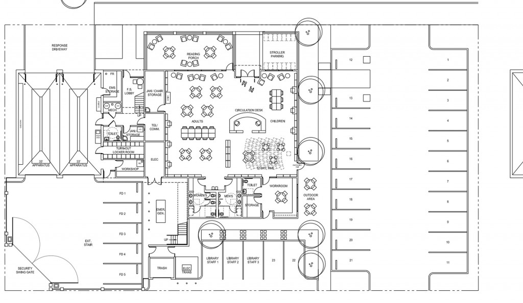 The city staff preferred floor plan (option D3) for the CdM fire station and library. (click to enlarge) — Photo courtesy the city of Newport Beach ©