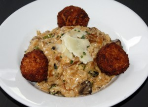 Lobster meatball truffle risotto