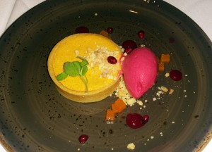 Butternut squash cheese cake with cranberry sorbet