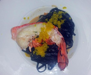 Lobster and squid ink pasta with uni butter